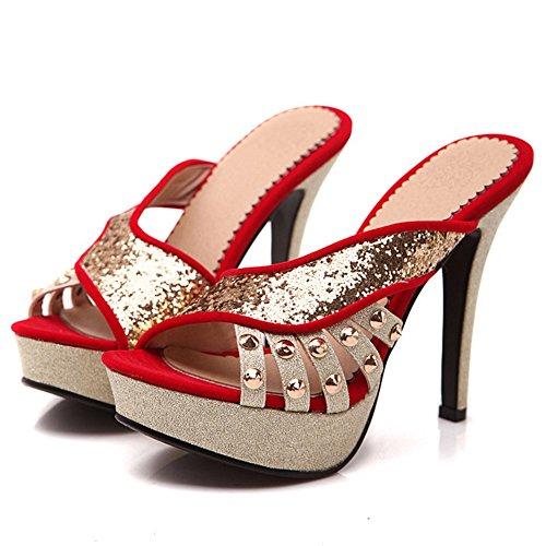 Red Bout Ouvert JOJONUNU Mules Sandales Femmes OAxXwq47
