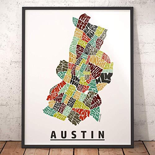 (Austin Neighborhood Map Print, signed print of my original hand drawn Austin typography map art )