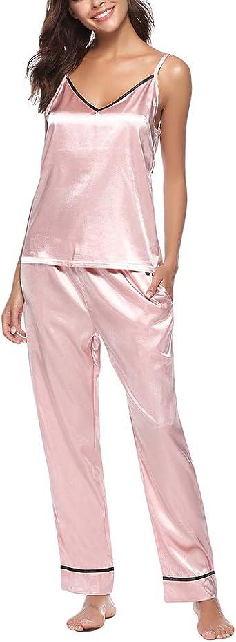 V-Collo Sling Top Pantaloni Lunghi 2 Pieces Sets Pigiama Accappatoio Yuanu Donna Estate Thin Traspirante Camicia da Notte Seta