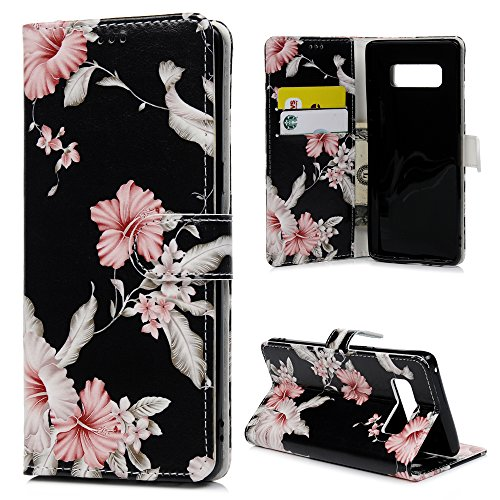 Note 8 Case Wallet, KASOS Colorful Painting Pattern Premium PU Leather Wallet Case Soft TPU Inner Flip Magnetic Front Closure Kickstand Card Holder Cover for Samsung Galaxy Note 8 Case - Morning Glory