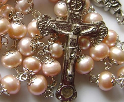 elegantmedical Pink AAA 8MM pearls PEARL BEADS ROSARY Relic CROSS NECKLACE CATHOLIC GIFT
