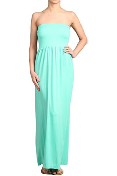 d2743cf58f81 Solid Color Long Seamless Style Strapless Tube Maxi Dress (Aqua) at Amazon  Women s Clothing store
