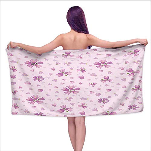 Ediyuneth Beach Towel Flowers bluebells Seamless Wallpaper,W20 xL39 for Kids ()