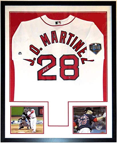 JD Martinez Signed Authentic Majestic 2018 Boston Red Sox World Series Jersey - Steiner Sports COA Authenticated - Professionally Framed & 2 8x10 Photo 34x42