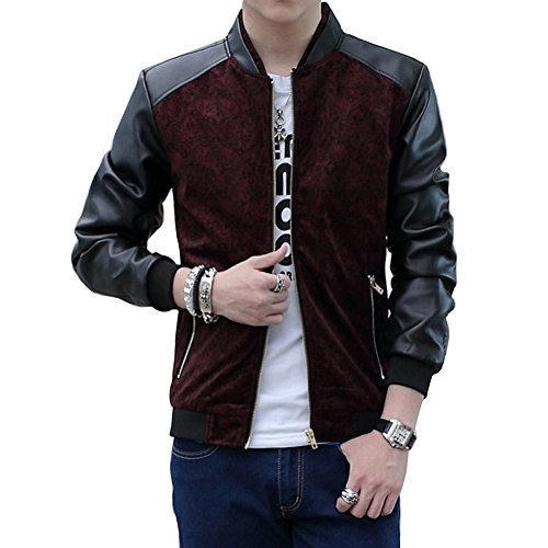 Wishere New Men 's PU Leather Jackets Korean Slim Collar Coat Jacket