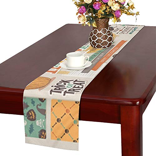 Halloween Scrapbook Set Decorative Elements Table Runner, Kitchen Dining Table Runner 16 X 72 Inch for Dinner Parties, Events, -