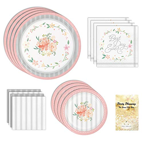 Bridal Shower Party Supplies, Rustic Wedding Farmhouse Floral Design, 16 Guests, 65 Pieces, Disposable Paper Dinnerware Plates and Napkins