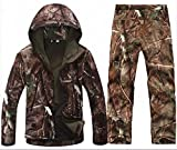 SportsInn Men Hunting Camouflage Clothing Waterproof Windproof Softshell Hooded Jacket & Pants Set-M