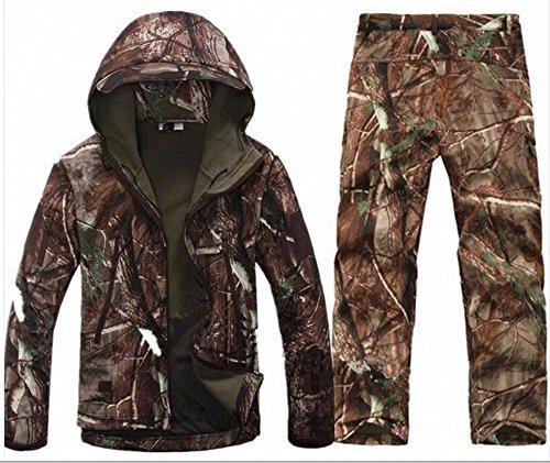 SportsInn Men Hunting Camouflage Clothing Waterproof Windproof Softshell Hooded Jacket & Pants ()