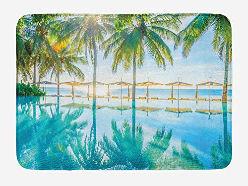 Landscape Bath Mat, Pool by The Beach with Seasonal Eden Hot Sunny Humid Coastal Bay Photography, Plush Bathroom Decor Mat with Non Slip Backing,28 W X 16 L Inches, Green Blue