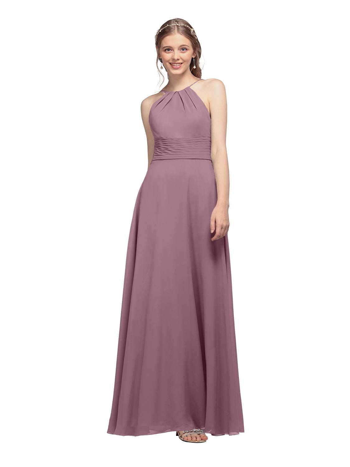 1615548bbffc4 AW Halter Chiffon Bridesmaid Dresses Long Prom Formal Wedding Party Dress  for Women, Mauve Mist, US0