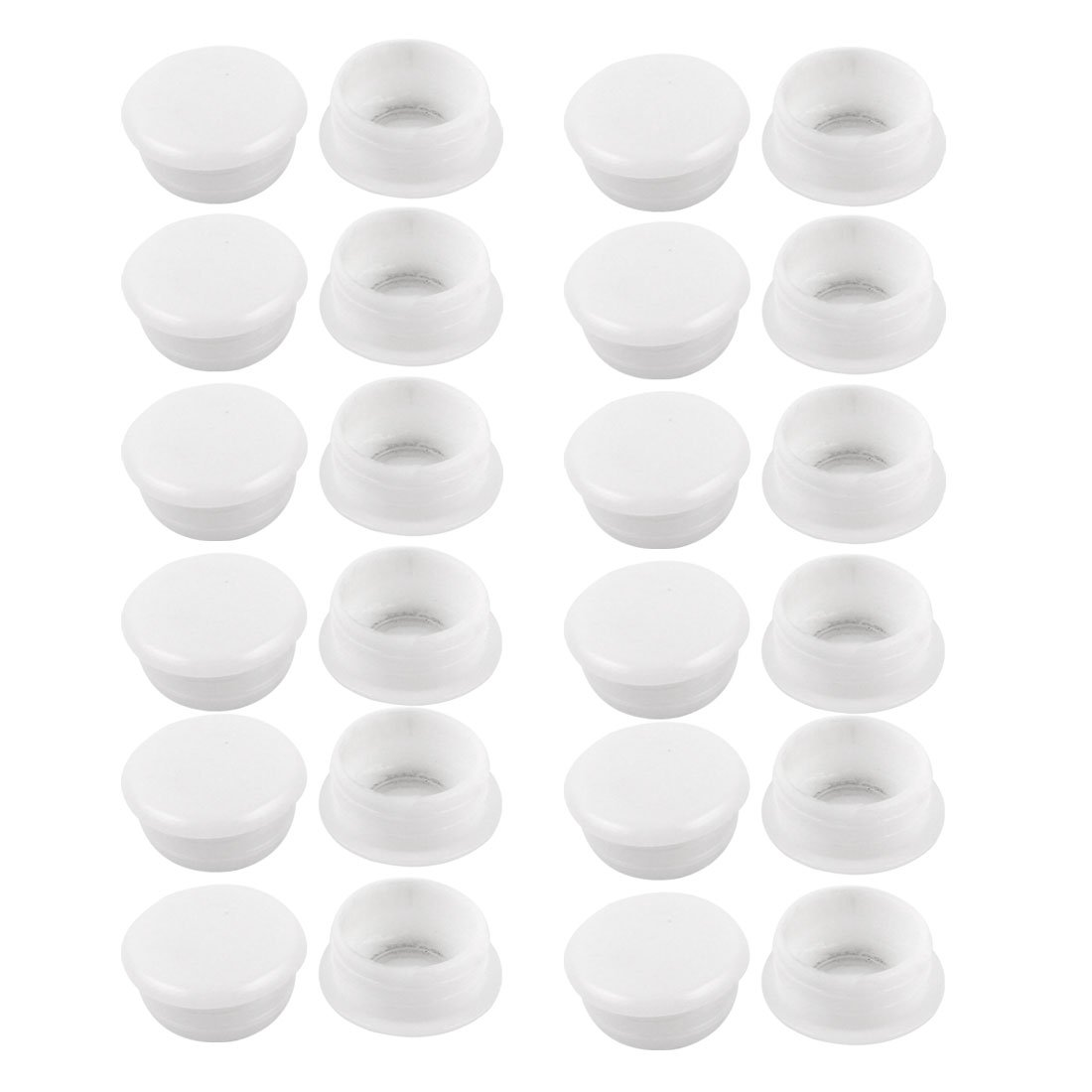 24 Pcs White Plastic 15mm Dia Round Tubing Tube Insert Caps Covers uxcell a14091000ux0249
