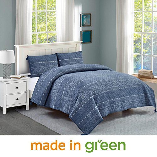 Wonder-Home 3 Piece 100% Cotton Quilt Set, OEKO-TEX Standard