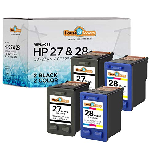 HouseOfToners Remanufactured Ink Cartridge Replacement for HP 27 & 28 (2 Black & 2 Color, 4-Pack)