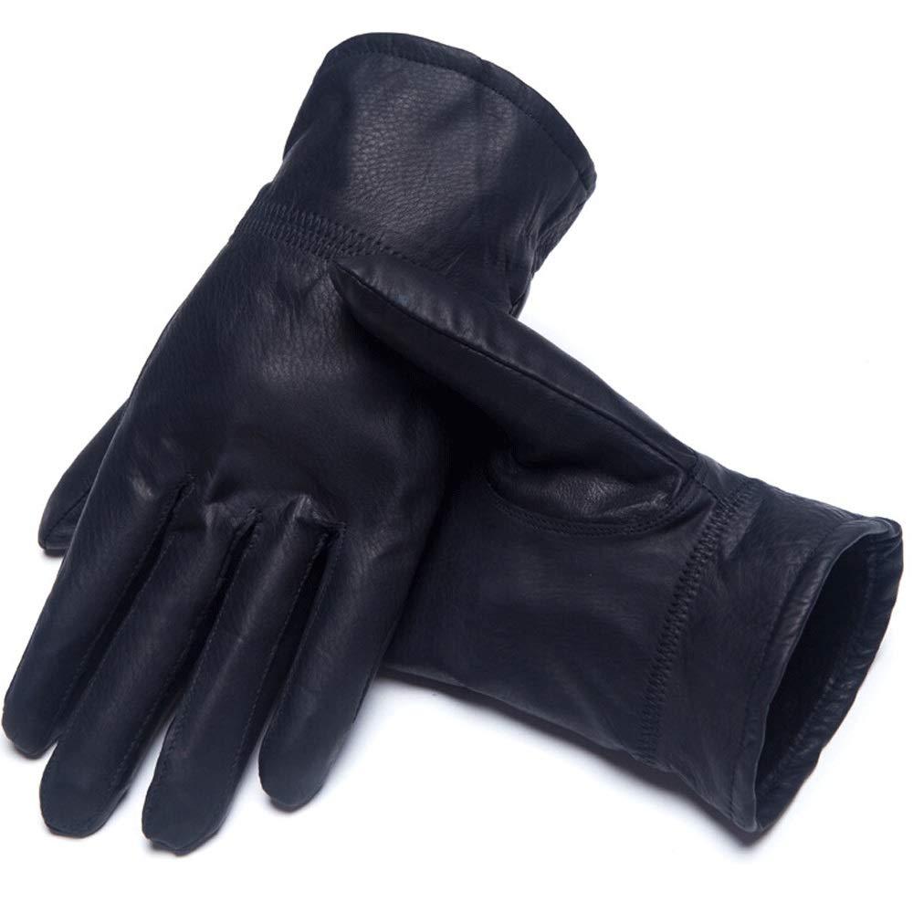GLJJQMY Schaffell Herrenreitleder Herren Plus Samt Dünne Fahrhandschuhe, Schwarz Handschuh