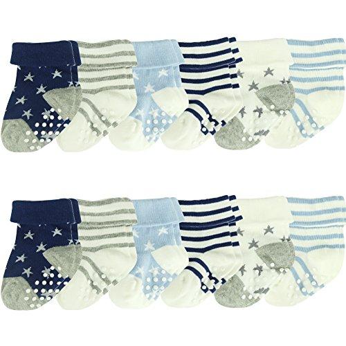 Toddler Non Slip Socks, ComiFun Newborn Infant Baby Boys Girls Non Slip Anti Skid Thick Cute Colorful Soft Cotton Socks 12 Pairs,3-12 Months