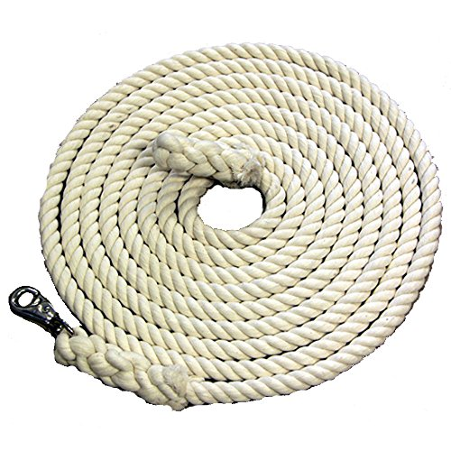 Picket Line 27 Foot Soft cotton rope. Has malleable iron nickle plated bull snap. Can be used with a