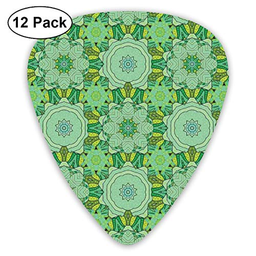- Celluloid Guitar Picks - 12 Pack,Abstract Art Colorful Designs,Kaleidoscopic Illustration In Green Shades Oriental Asian Flower Pattern,For Bass Electric & Acoustic Guitars.