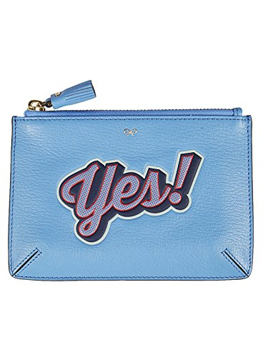 Anya Hindmarch Ladies 929837 Clutch In Pelle Blu Chiaro
