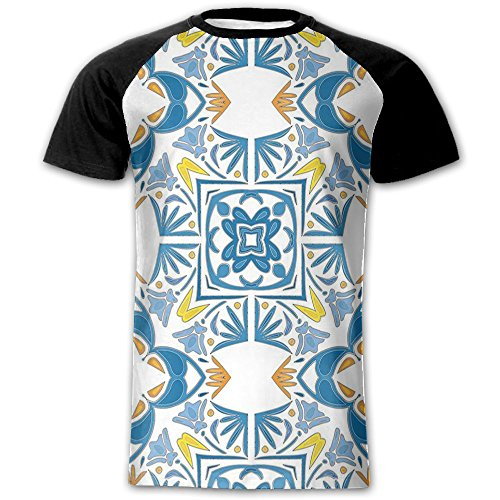 Newfood Ss Tunisian Mosaic with Azulojo Spanish Influence Authentic Retro Islamic Men's Short Sleeve Raglan T M]()