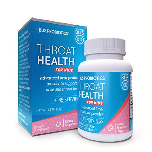 BLIS ThroatHealth for Kids, Potent Oral Probiotic Powder with BLIS K12, 1.25 Billion CFU, Support for Childrens ENT Immunity, Sugar-Free, Strawberry, 45 Serves