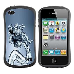 Suave TPU GEL Carcasa Funda Silicona Blando Estuche Caso de protección (para) Apple Iphone 4 / 4S / CECELL Phone case / / Water Dragon /