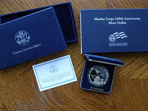 (2005 - U.S. MARINE CORPS 230TH ANNIVERSARY COMMEMORATIVE - PROOF SILVER DOLLAR COIN)