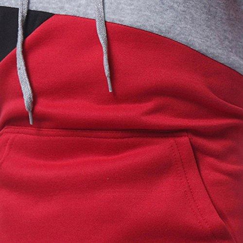 Patchwork Manches Manteau Long Hauts À Hommes Capuche Morchan Rouge De Sweat Outwear Veste qEtzgnZw