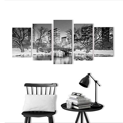 Color 5 Piece Wall Art Painting Frameless Gapstow Bridge in Winter Central Park New York City in Black and White Hotel Office Decor Gift Piece - York New Central Park Hotel