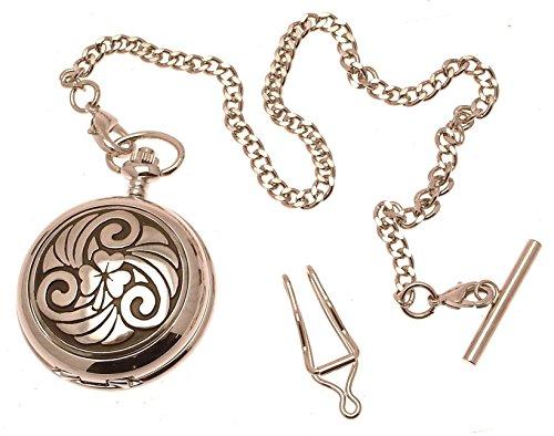 Engraving included - Solid Pewter fronted quartz pocket watch - Celtic Shamrock design