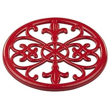 Home Basics Cast Iron Fleur De Lis Trivet (Red)