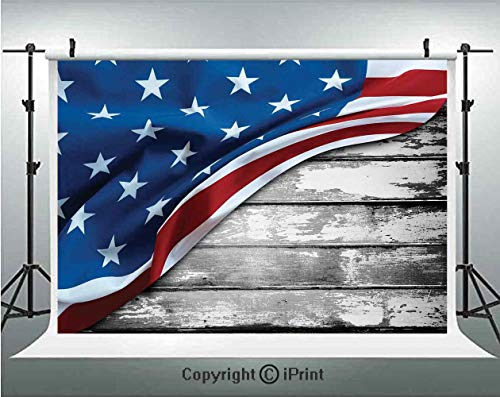 American Flag Decor Photography Backdrops Close Up Design Flag Over Antique Rustic Rippled Board Federal Country,Birthday Party Background Customized Microfiber Photo Studio Props,10x6.5ft,Grey Navy