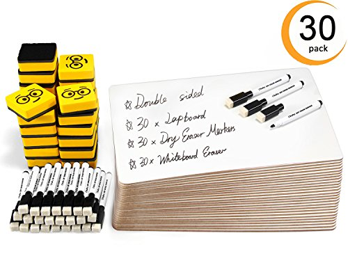 Dry Erase Boards, Ohuhu 30-Pack 9 x 12 Inch Double Sided Whiteboards Set, Including 30 x Lap Board, 30 x Black Markers, 30 x White Boards Eraser for Back to School Teachers, Students, Kids, Classroom