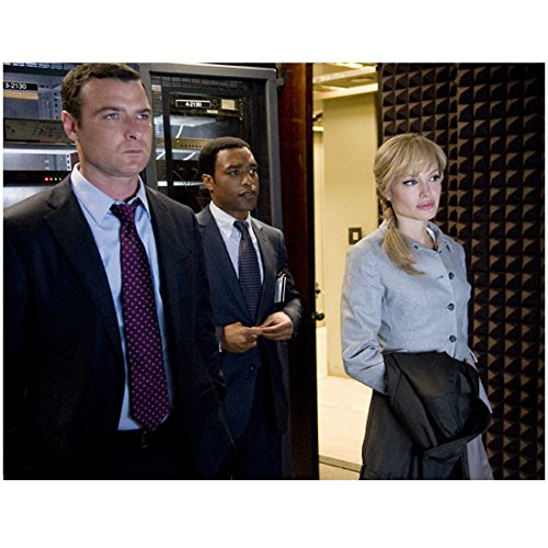 Salt (2010) (8 inch by 10 inch) PHOTOGRAPH Angelina Jolie Coat Over Arm, Liev Schreiber & Chiwtel Ejiofor Looking in Same Direction kn
