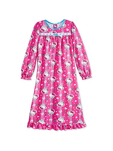 - Hello Kitty Little Girls Flannel Granny Gown Nightgown (6, Heart Pink)