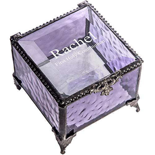 Victorian Purple Crystal - First Communion Gift Personalized Jewelry Keepsake Box for Girl Engraved Purple Stained Glass J Devlin Box 836 EB218-2