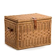 The Basket Lady Deep Wicker Storage Trunk | Wicker Storage Chest, L, Toasted Oat