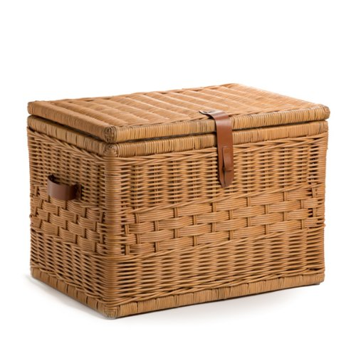 The Basket Lady Deep Wicker Storage Trunk | Wicker Storage Chest, L, Toasted Oat by The Basket Lady