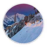 iPrint Thick Round Beach Towel Blanket,Winter,Majestic Winter Sunrise Landscape and Ski Resort Spruce Pine Forest French Alps,Multi-Purpose Beach Throw