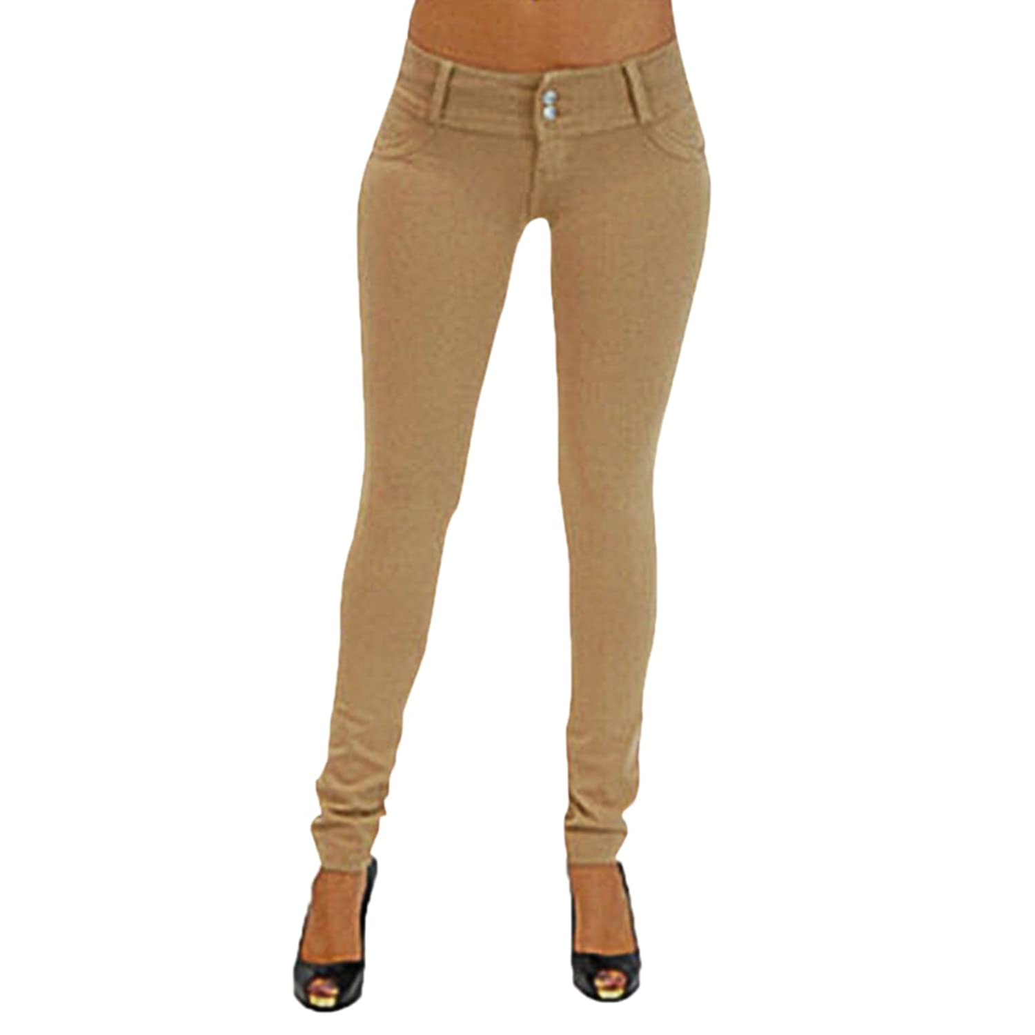 Cekaso Women's Long Stretch Skinny Cotton Pencil Solid Butt Lifting Jeans Pants