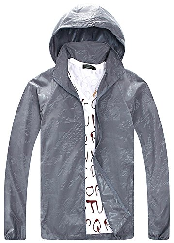 Cheering Women's Lightweight Windbreaker Jacket Super Quick Dry UV Protect Coat Grey S