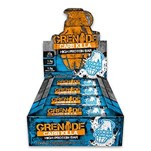 Grenade Carb Killa High Protein and Low Carb Bar, 60 g - Cookies and Cream, Pack of 12 by Grenade