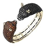 Wall Street Bull and Bear Cuff Bracelet in 18K Gold with Cognac & Black Diamonds (21 1/4 cttw)