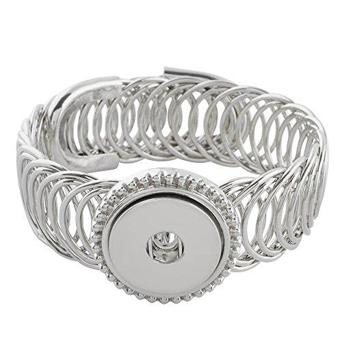 LOV*MOMENT Lovmoment Bracelet Single Button Wide Metal Snap Bracelet Bangle Snap Jewelry Charms ()