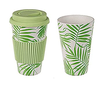 Tropical Blatter Coffee To Go Becher Kaffee Tasse Silikon Deckel
