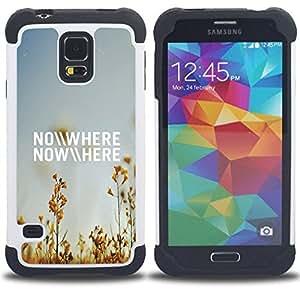 For Samsung Galaxy S5 I9600 G9009 G9008V - Nowhere Field Summer Sky Blue Nature /[Hybrid 3 en 1 Impacto resistente a prueba de golpes de protecci????n] de silicona y pl????stico Def/ - Super Marley Shop