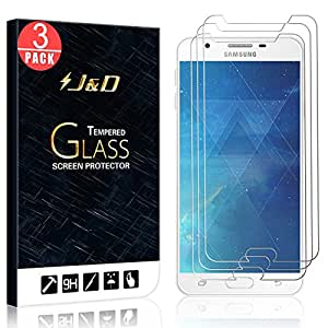 Galaxy J7 Prime Screen Protector, Galaxy J7 (2017) Screen Protector, J&D [Tempered Glass] HD Clear Ballistic Glass Screen Protector for Samsung Galaxy J7 Prime, Samsung Galaxy J7 (2017) - 3 Packs