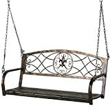 Yaheetech Iron Patio Hanging Porch Swing A Frame Swing Stand in Bronze Finished Outdoor Garden Furniture (Porch Swing)