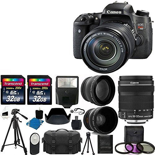 Canon EOS Rebel T6s DSLR Camera USA Warranty With Canon EF-S 18-135mm f/3.5-5.6 IS STM Lens + 58mm 2x Professional Lens +High Definition 58mm Wide Angle Lens + Auto Flash + 59' Strong lightweight Tripod + UV Filter Kit With 64GB Complete Deluxe Accessory Bundle