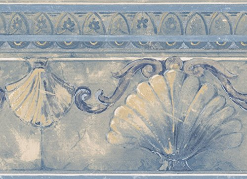 Abstract Seashells Silver Damask Scrolls Cerulean Blue Wallpaper Border Retro Design, Roll 15' x 7''
